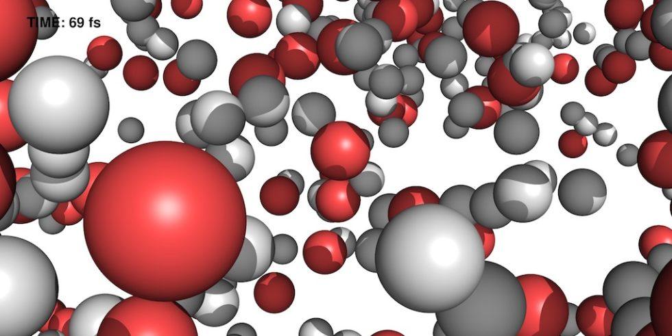 Nach knapp 70 billardstel Sekunden (Femtosekunden) haben sich die Wassermoleküle bereits weitgehend in Wasserstoff (weiß) und Sauerstoff (rot) getrennt.