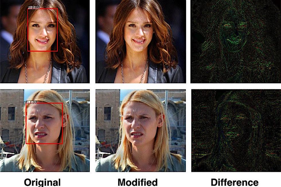 Die Bilder in der Mitte sind durch einen Algorithmus so verändert, dass Menschen sie noch gut erkennen können, Bilderkennungssoftware aber nicht.
