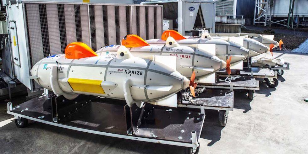 Great Divers: Die vom Fraunhofer IOSB entwickelten Tauchdrohnen mit elektrischem Antrieb kommunizieren über Schallwellen. Per Sonar tasten die autonomen U-Boote den Meeresgrund ab, um ihn zu vermessen.
