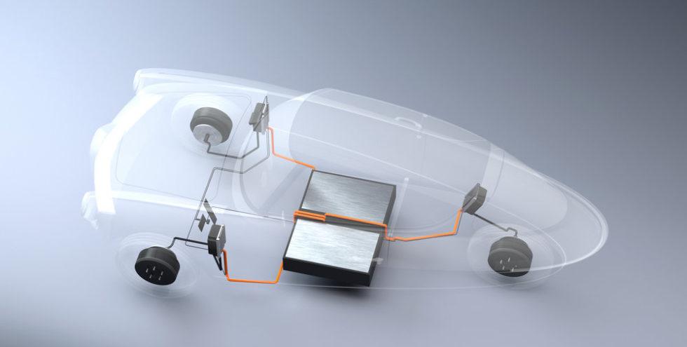 Der Nobe 100 wird von drei Radnabenmotoren angetrieben. Die zwei Aktenkoffer-großen Batterien liegen unter den Vordersitzen.