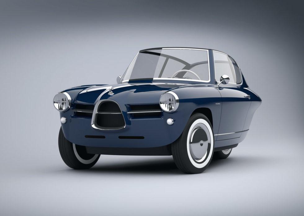 Pure nostalgische Eleganz: das Elektroauto Nobe 100 mit drei Rädern. Ohne Targa-Dach wird der Nobe zum Cabrio. Auch das Interieur ist pure Nostalgie.