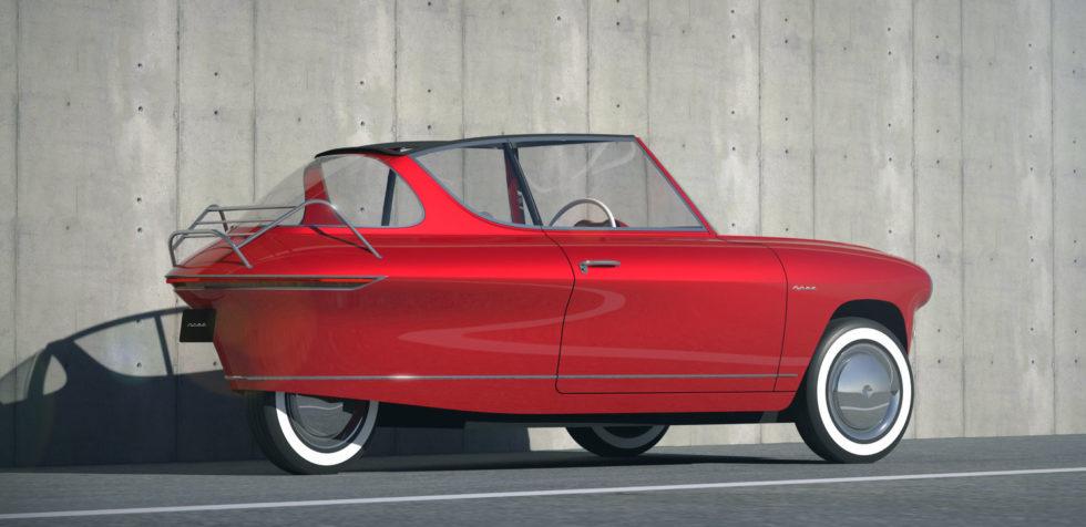 Für Nostalgiker: Elegantes Elektroauto auf drei Rädern