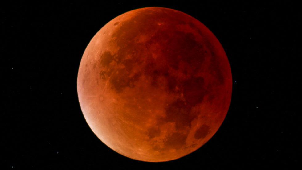 Rotverfärbter Mond: Am Freitag, 27. Juli, bewegt sich der Vollmond 103 Minuten lang vollständig durch den Kernschatten der Erde und wird von ihr verfinstert. Dabei verfärbt sich der Mond kupferrot, weil die an der Erde seitlich vorbeiführenden Sonnenstrahlen von der irdischen Atmosphäre gefiltert werden. Während kurzwellige blaue Lichtanteile absorbiert werden, passieren die langwelligen roten Lichtstrahlen die Erdatmosphäre und werden auf die Mondoberfläche gelenkt. Das Foto entstand bei der totalen Mondfinsternis vom 28. September 2015 auf der Volkssternwarte Rothwesten bei Kassel.
