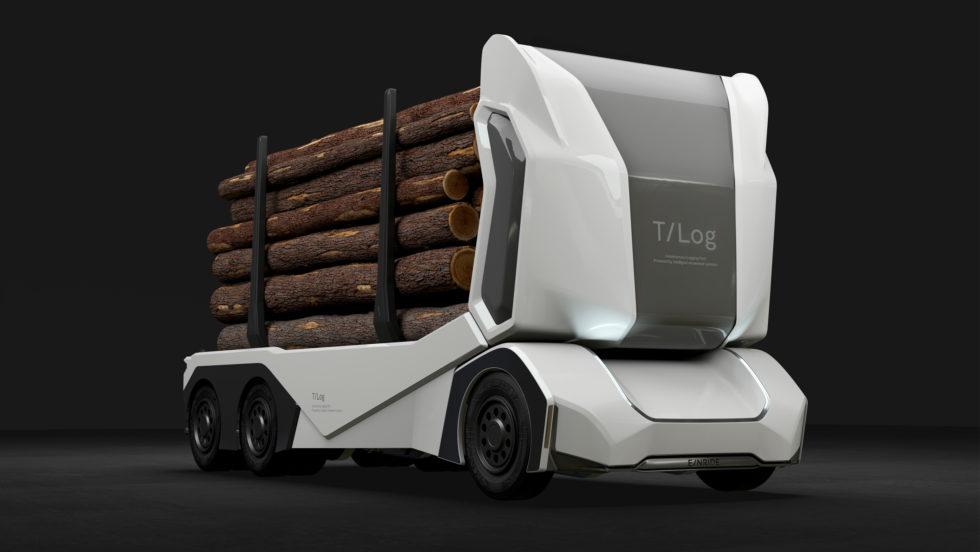Dieser Holztransporter ist ferngesteuert ohne Fahrer im Wald unterwegs