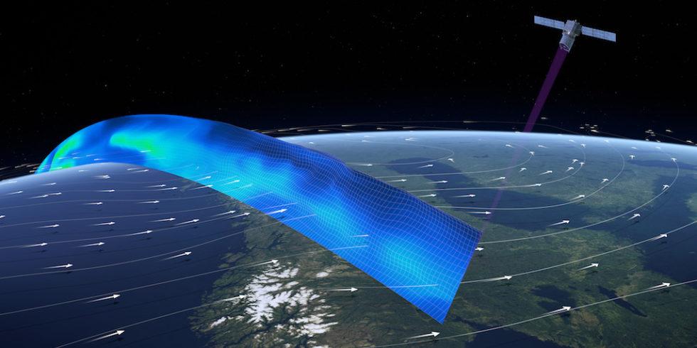 Der Satellit trägt das erste Wind-Lidar im Weltraum, das die untersten 30 km der Atmosphäre untersuchen kann, um Profile von Wind, Aerosolen und Wolken entlang der Orbitalbahn des Satelliten zu liefern.