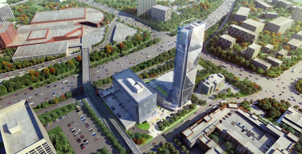 Modellbild der US-Zentrale von Thyssenkrupp Elevator bei Tag