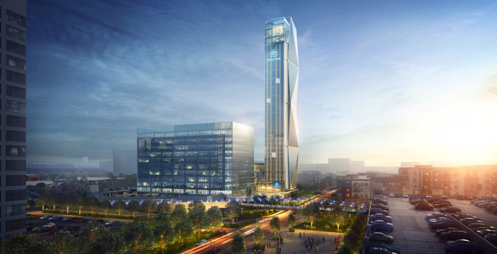 Thyssenkrupp Elevator baut in Atlanta in den USA einen neuen Hauptsitz. Spektakulärer Blickfang wird ein 128 Meter hoher Aufzugstestturm . In ihm will thyssenkrupp sein flankiert werden: der höchste seiner Art in den USA und einer der höchsten weltweit.