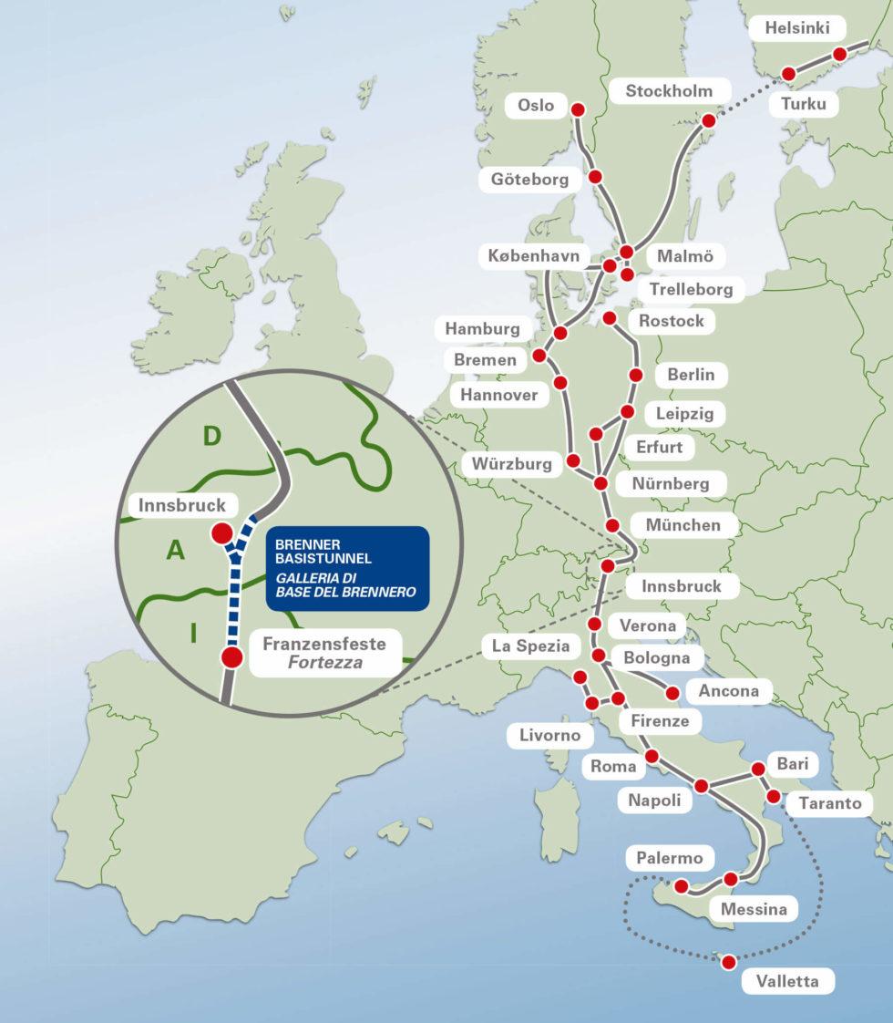 Der Brenner Basistunnel ist zentrale Verbindung im Güterverkehr zwischen Nord- und Südeuropa.