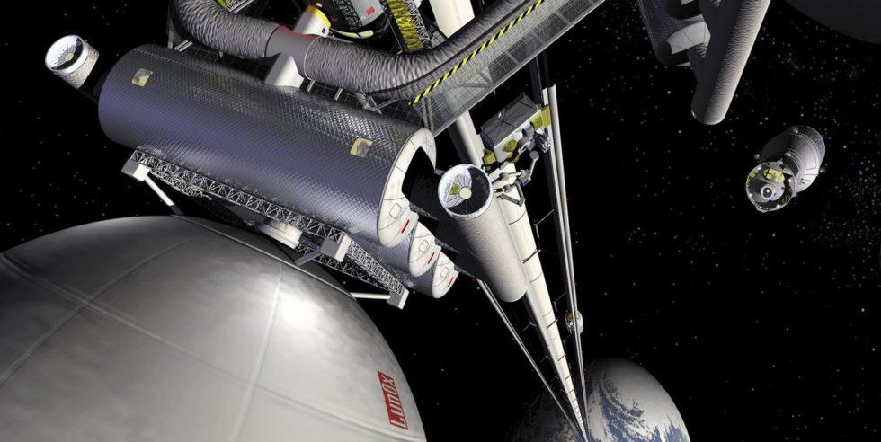 Diese Illustration zeigt das Konzept eines Raumaufzugs.