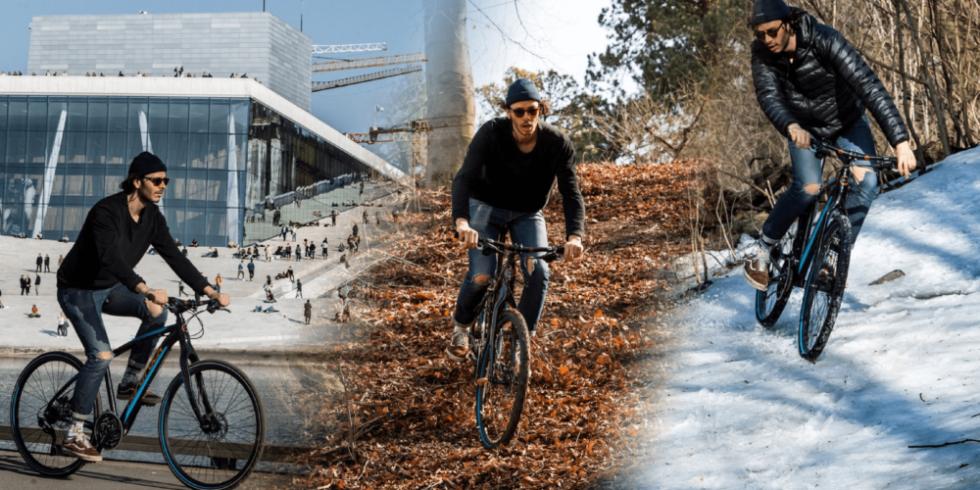 Mann auf Fahrrad auf Asphalt, auf Laub und auf Schnee