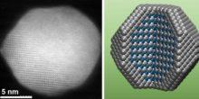 Die Abbildung zeit den Aufbau eines Katalysator-Moleküls, bestehend aus Platin-Cobalt-Atomen.