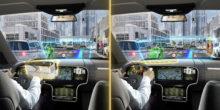 Blick durch die Windschutzscheibe eines Autos. Es sind zusätzliche virtuelle Einblendungen auf der Widschutzscheibe zu sehen.