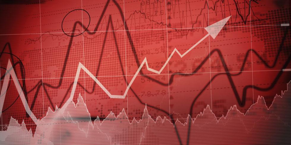 schwankende Graphen vor roten Hintergrund