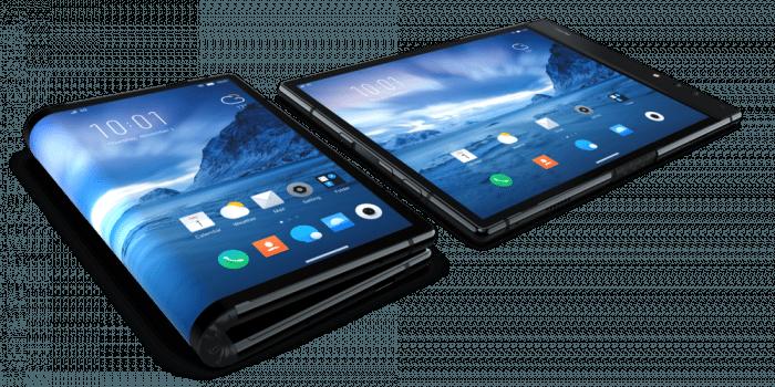 Das FlexPai zusammengeklappt wie ein Smartphone und ausgeklappt wie ein Tablet