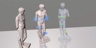 Dreidimensionale Darstellung einer männlichen Statue aus verschiedenen Perspektiven