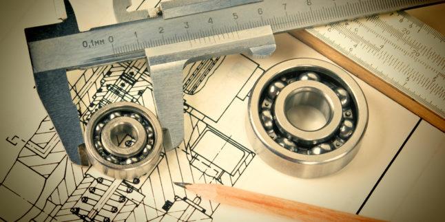 Messinstrument und Kugellager auf einer technischen Zeichnung