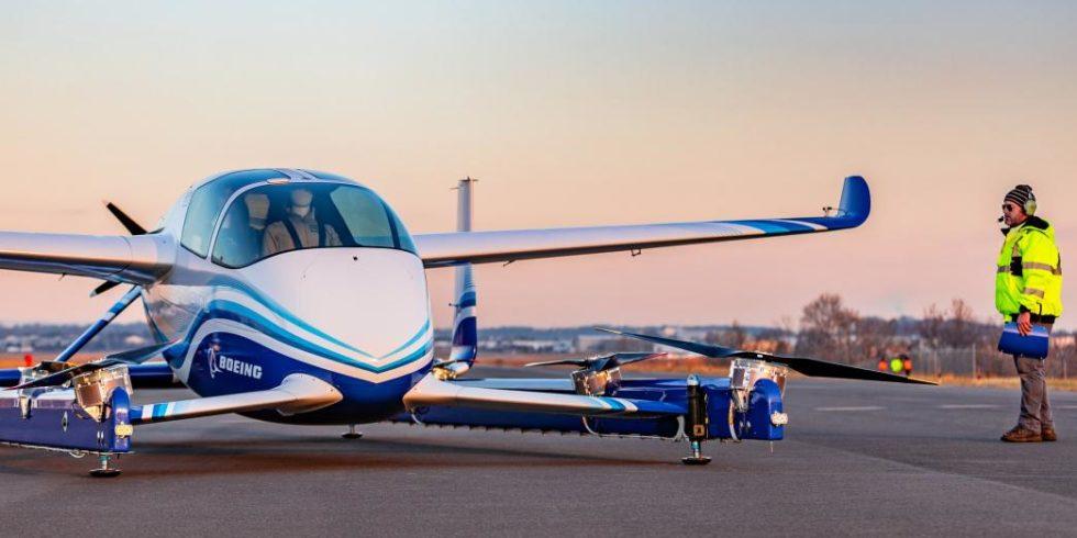 Das autonome Passenger Air Vehicle von Boeing hat 8 Propeller, die von Elektromotoren angetrieben werden. Foto: Boeing