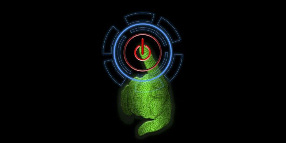 grüne Hand drückt einen Power-Button