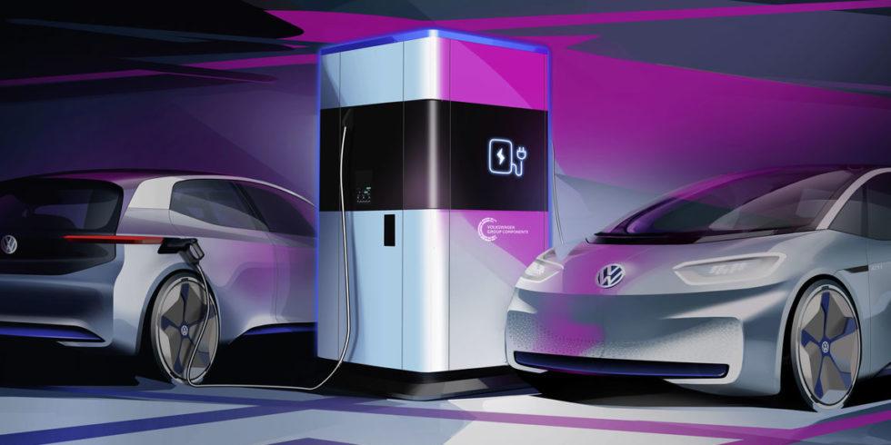 Man sieht eine Modelldarstellung des Schnellladesystems mit 2 Elektroautos.