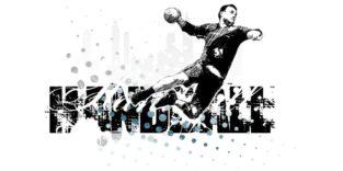 Illustration eines Handballers im Wurf