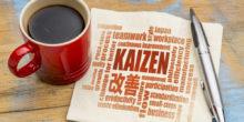 Serviette ist mit verschiedenen Wörtern beschrieben, darunter Kaizen. Daneben eine Tasse Kaffee und ein Stift