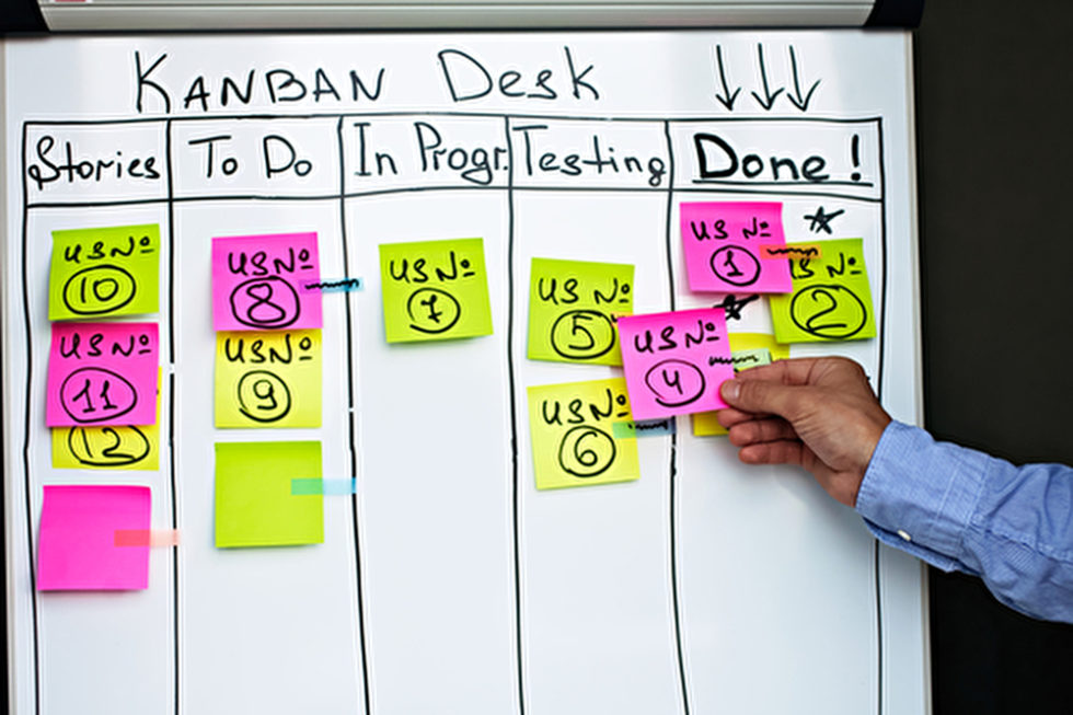 Analoges Kanban-Desk mit 5 Spalten und Post-its