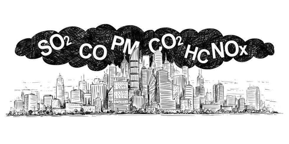 Illustration einer Stadt mit einer Abgaswolke, in der Kürzel wie NOx oder SO2 stehen