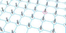 Roboter stehen an den Schnittstellen einer Gitternetzstruktur