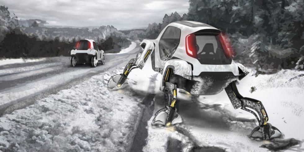 Hyundai-Auto auf einem Gestell, das aussieht wie Spinnenbeine im Schnee