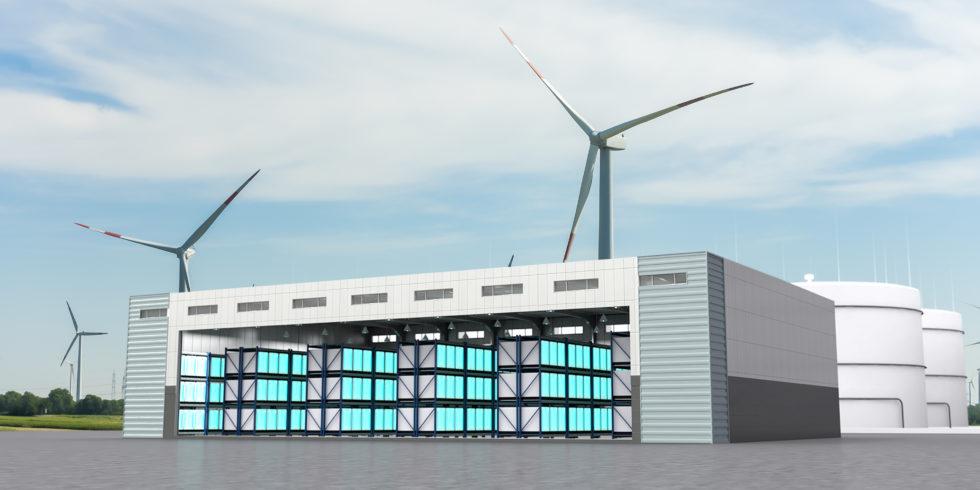 Animation der Megawattbatterie in Alzenau mit Windrädern im Hintergrund
