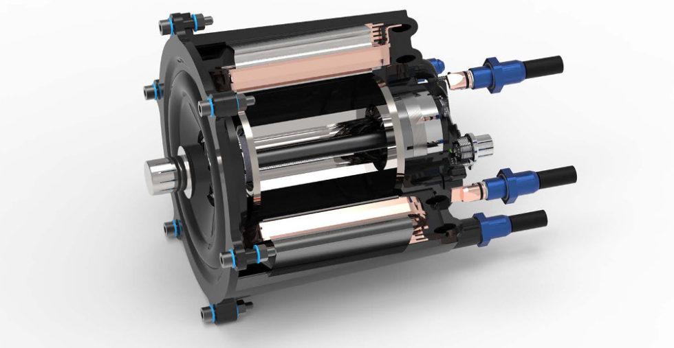 Diese Schnittdarstellung des Elektromotors zeigt das Prinzip: Kernstück des Motors ist ein Stator aus zwölf Einzelzähnen, die mit einem Flachdraht hochkant umwickelt sind. Das schafft Platz für ein Kühlsystem. Foto: Fraunhofer ICT