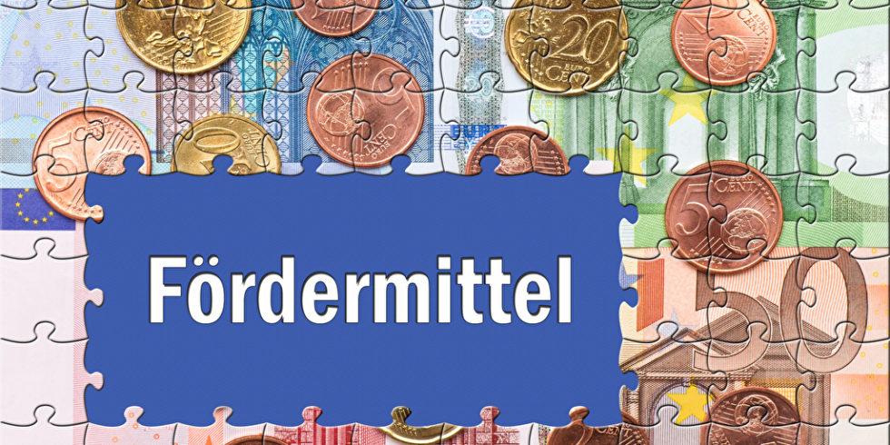 Der Schriftzug Fördermittel ist auf Puzzleteile gedruckt, die auf einem Euro-Geld-Puzzle liegen