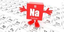 Das Element Natrium steht als rotes Klotz mit Füßen und Händen auf dem Periodensystem