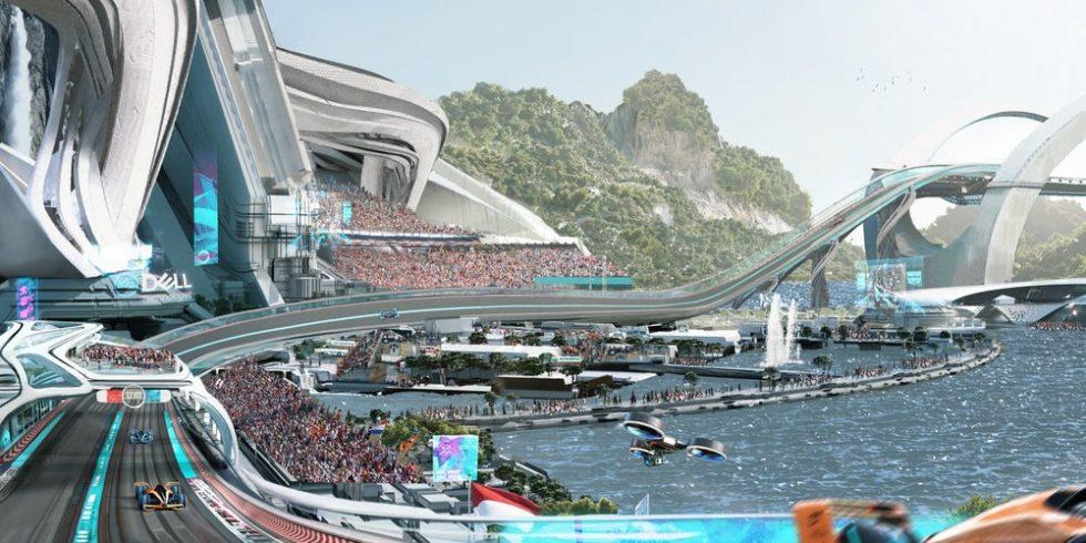 Die Rennstrecke für den MCLE von McLaren im Jahr 2050