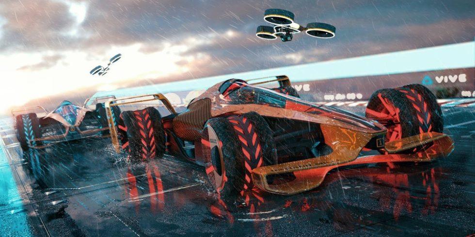 Der Rennwagen MCLExtrem von McLaren mit einer Drohne, die ihn begleitet