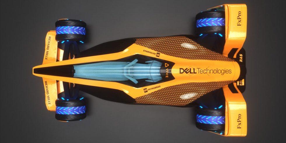 Der elektrische Rennwagen MCLE von McLaren von oben