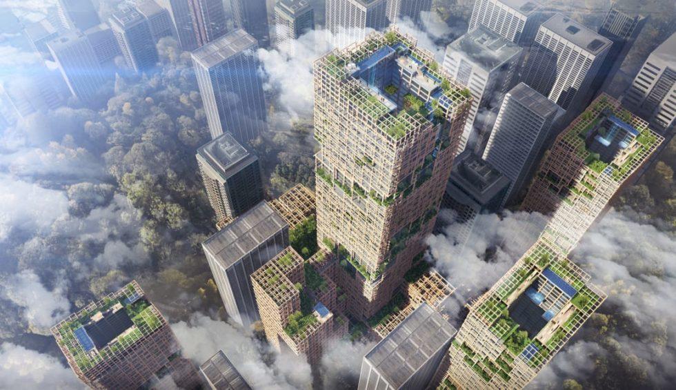 Das japanische Unternehmen Sumitomo Forestry baut den Turm W350 in Tokio