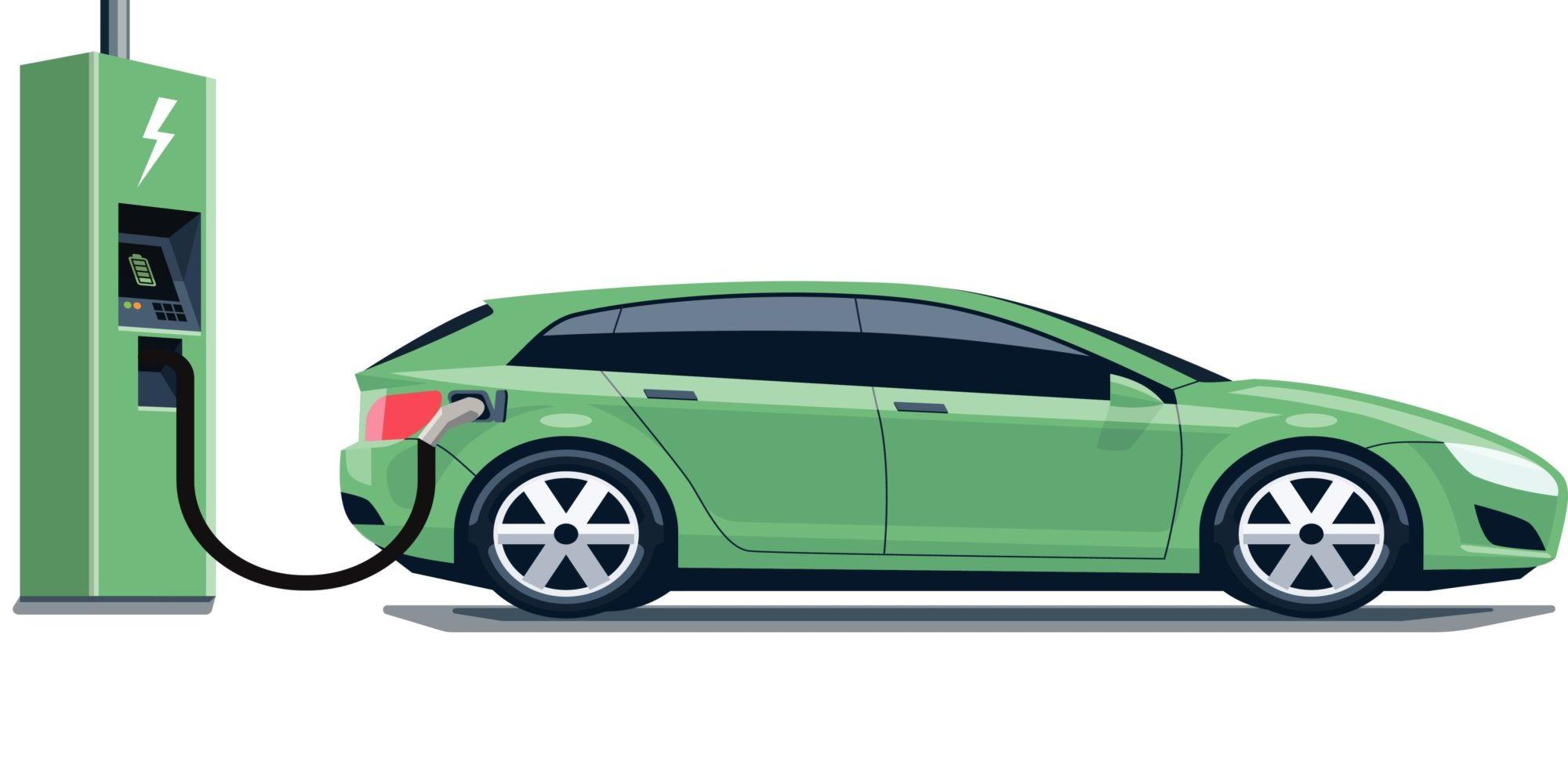 Grünes Elektroauto tankt Strom