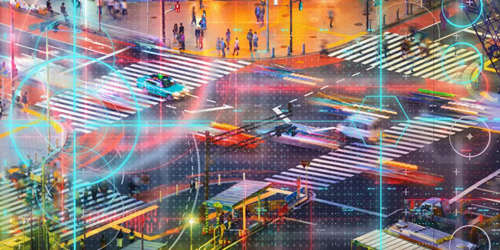 Verkehr an einer großen Kreuzung wird per KI gesteuert