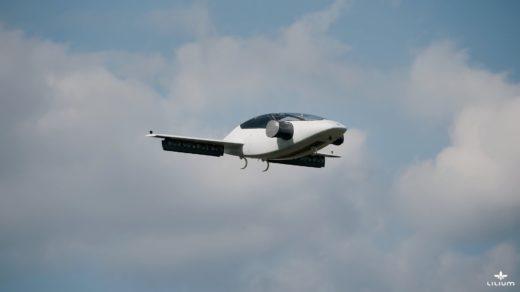 Der Lilium Jet bei seinem Jungfernflug. Foto: Lilium