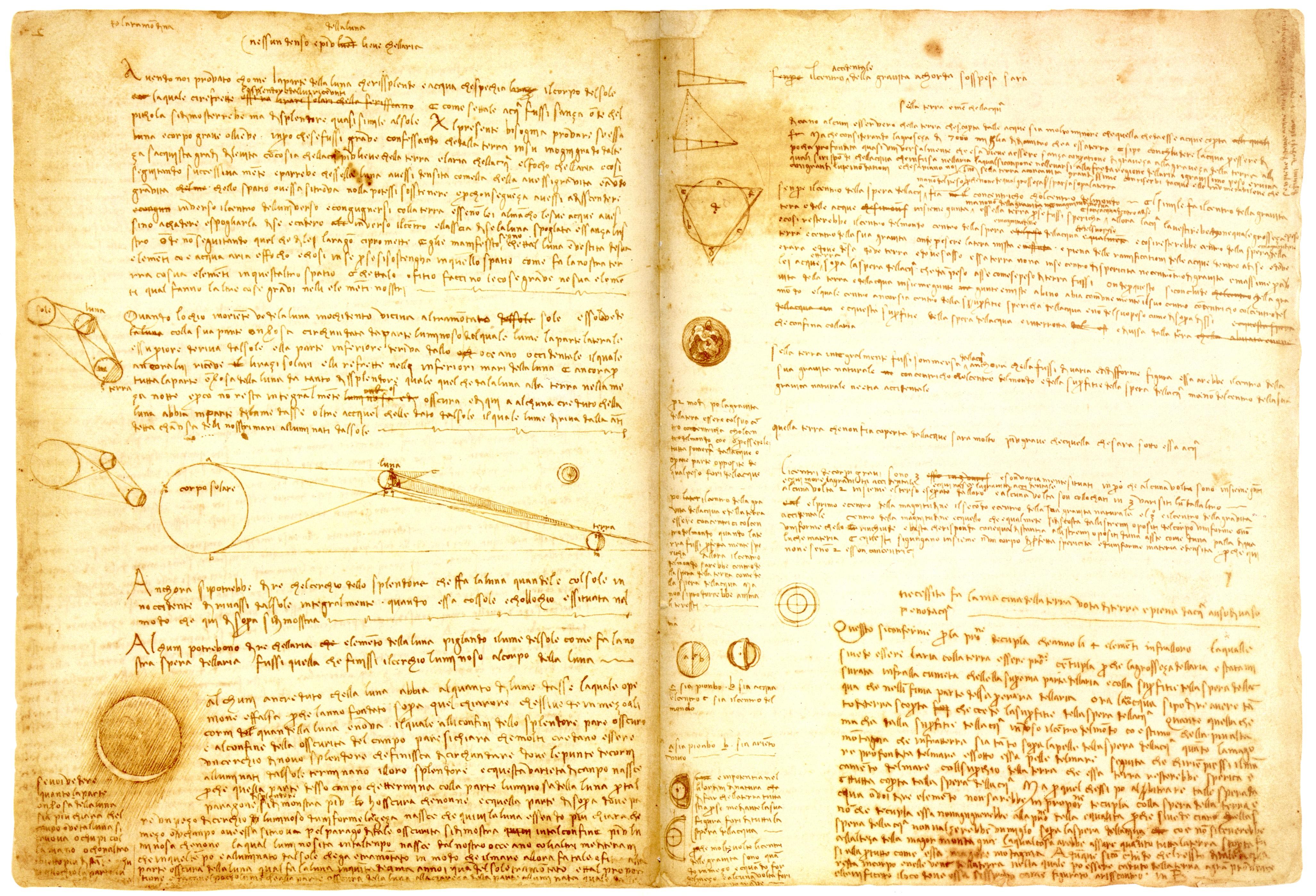 Auszug aus den Schriften da Vincis.<br />Foto: Public Domain