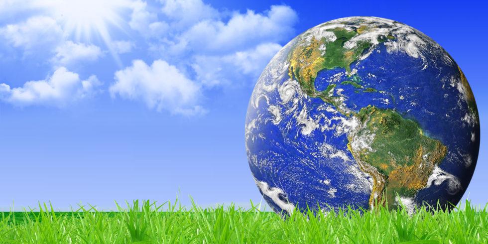 Strahlende Weltkugel für Naturschutz