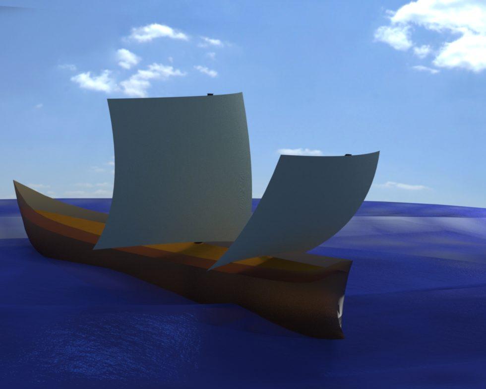 Schiffssimulation eines römischen Wracks