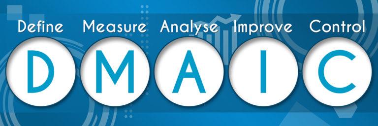 DMAIC steht in Großbuchstaben geschrieben, darüber klein define, measure, analyze, improve, control