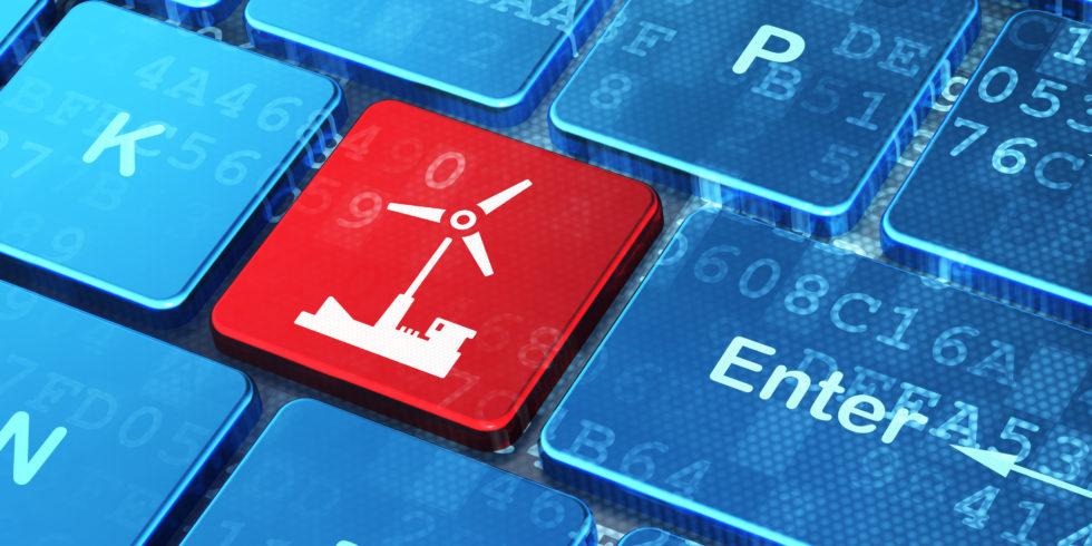 Windenergiesymbol auf einer Tastatur