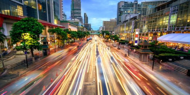 Straßenbild in Smart City