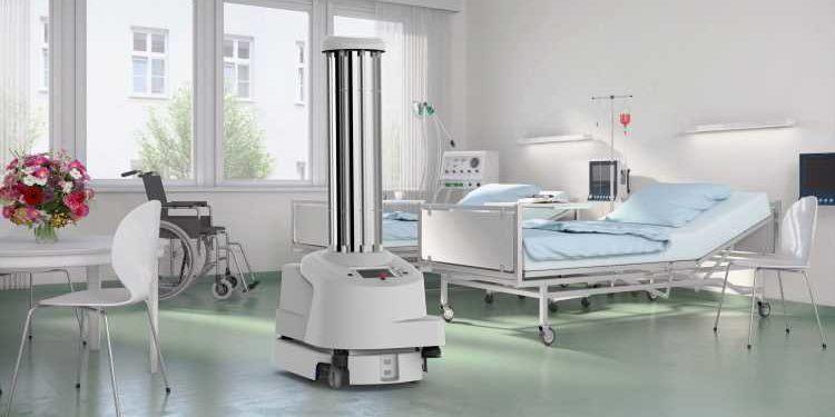 Der UVD-Roboter fährt autonom und eliminiert Keime in Krankenhäusern.  Foto: Blue Ocean Robotics