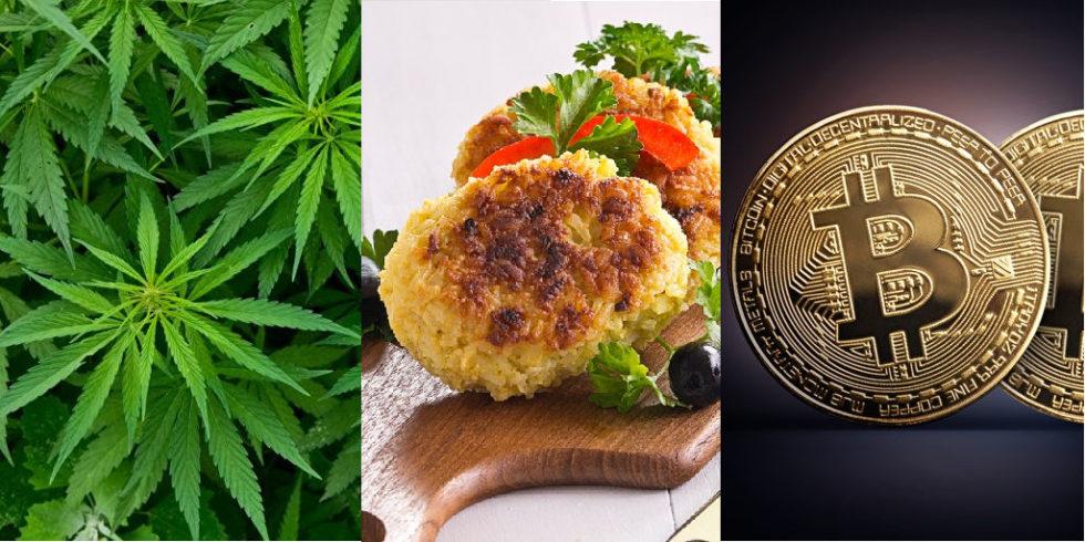 Fotomontage: ganz links Cannabispflanzen, mittig fleischlose Patties, rechts Bitcoin-Münzen
