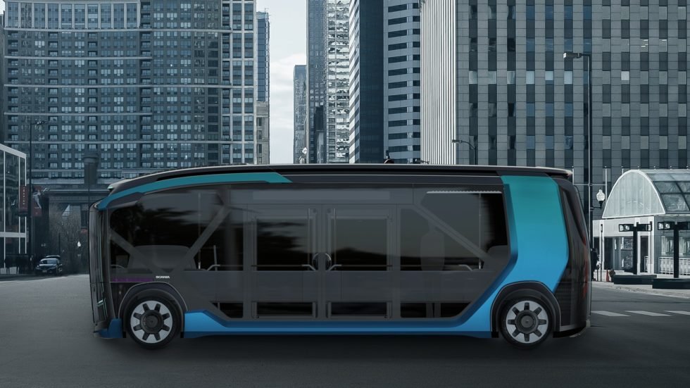 Scania autonomer E-Bus von der Seite