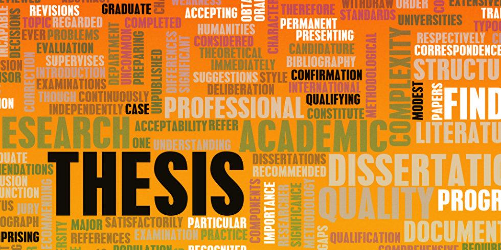 Thesis und Dissertation steht auf bedrohlich rot wirkendem Untergrund